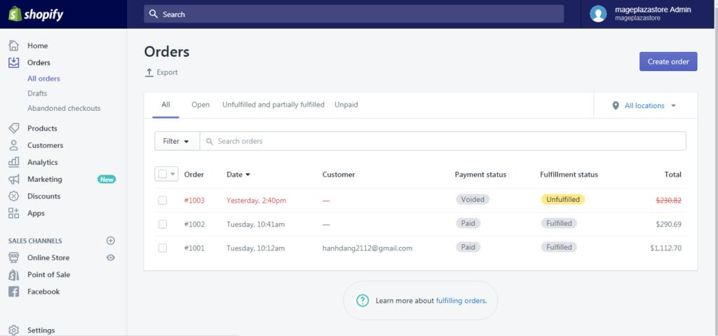 Trạng thái đơn hàng trên shopify - CodUCK Technology